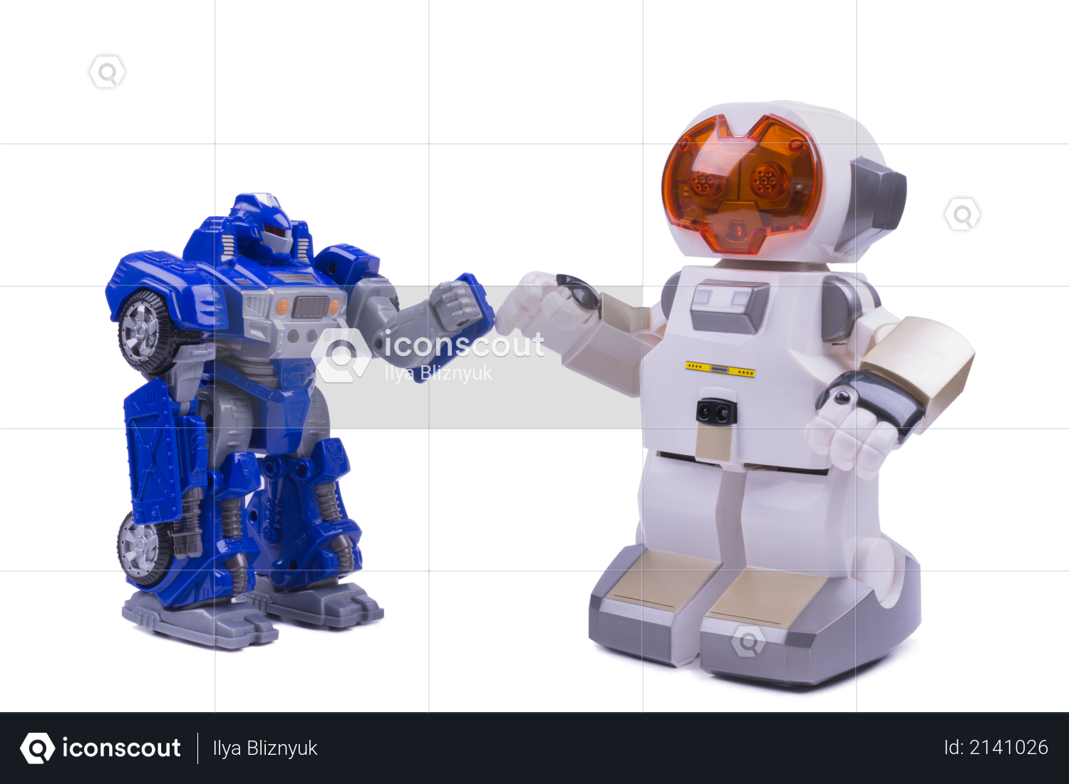 Two white robots on a white background Photo