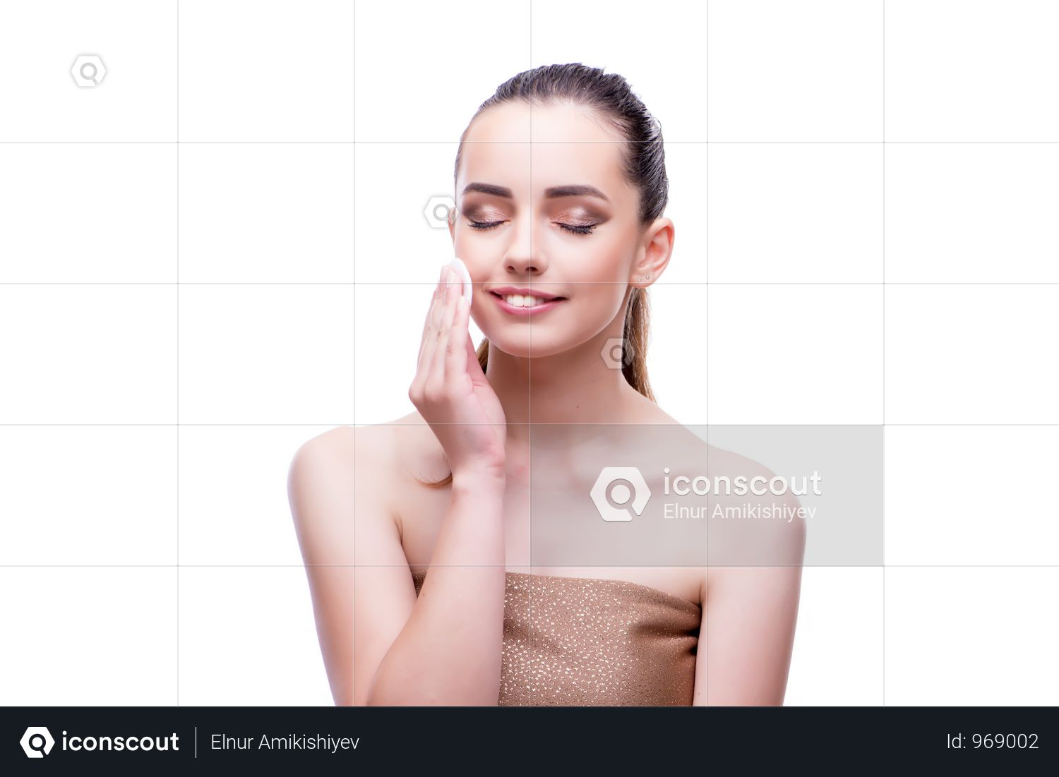 Woman In Beauty Concept Applying Make Up Using Cosmetics Photo