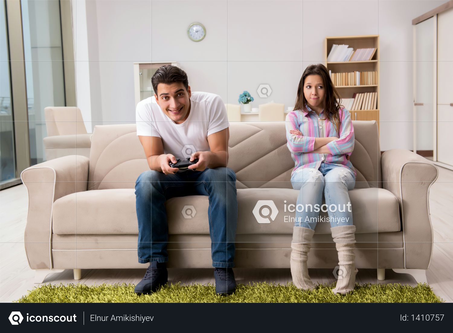 Young family suffering from computer games addiction Photo