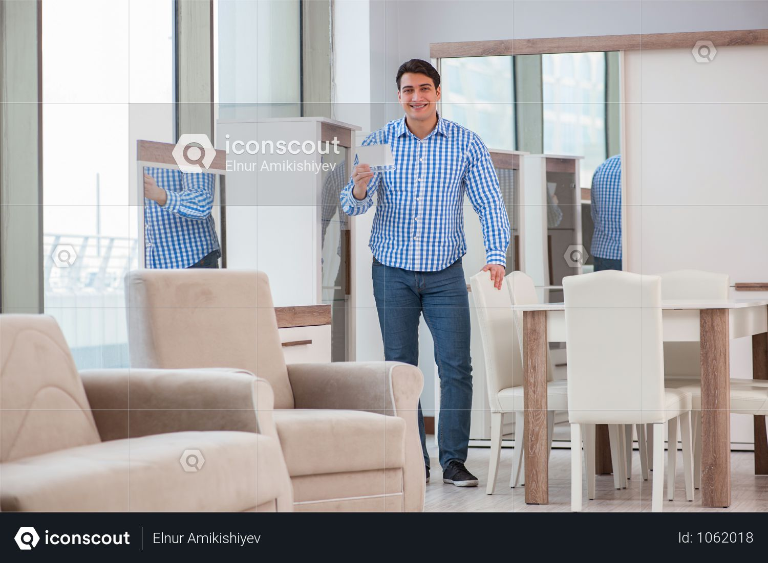 Young Man Shopping In Furniture Store Photo