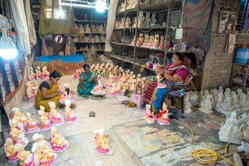 An Unidentified Artist Making Sculptures Of Goddess Durga Shoot