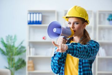 Woman In Workshop With Drilling Drill Stock Images