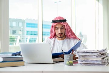 Arab Businessman Working In The Office Stock Images
