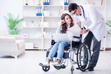 Handicapped Person Routine Checkup Stock Images
