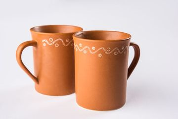 Empty Terracotta Mug Or Brown Clay Coffee Cup Or Jar Or Drinking Glass Shoot