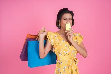 Shopaholic Girl With Credit Card Shoot