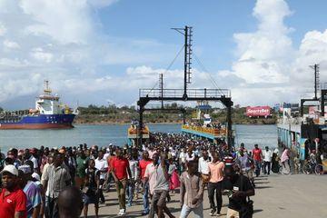 Ferries Crossing The New Harbor Of Mombasa, Kenya Africa Shoot
