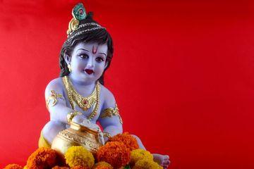 Hindu God Krishna On Red Background Shoot