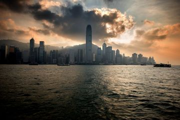 Victoria Harbour And Hong Kong Central City Cloudy Skyline Shoot