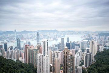 HONG KONG - DECEMBER 6, 2015: Hong Kong Skyline From Victoria Peak On December 6, 2015 Shoot