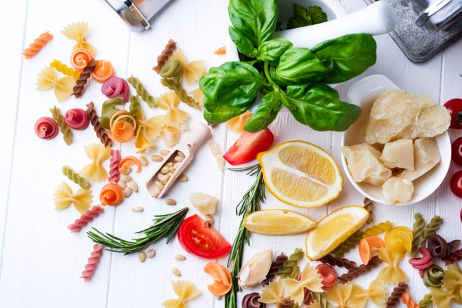 Italian Food Cooking Ingredients On Light Background