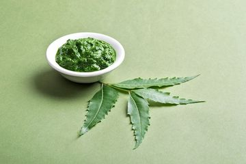 Medicinal Neem Leaves With Paste In Bowl On White Background Shoot