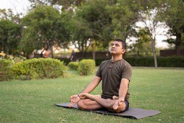 Mid Aged Man Doing Yoga Shoot