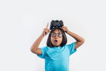 Kids Playing Video Game Shoot