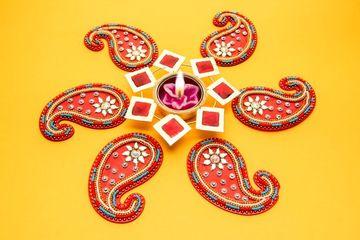 Rangoli Design Around Diwali Lamp During Diwali Celebration, India, Southeast Asia. Shoot