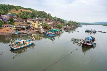 Traditional Fishing Boats At Backwater, Arrey Warrey Road, Ratnagiri, Konkan, Maharashtra, India, Southeast Asia. Shoot