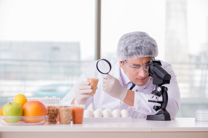 Scientist Studying Various Food Products