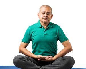 Senior Indian Man Doing Yoga Or Meditation Shoot