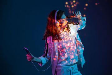 Girl Listening Music In Neon Lights Shoot