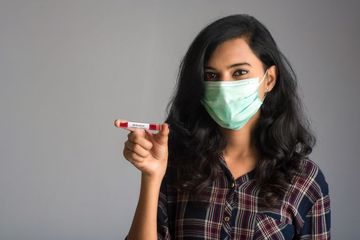 Woman With Blood Sample For Coronavirus Or 2019-nCoV Shoot