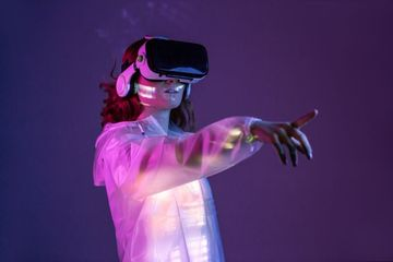 Girl With VR Glasses Shoot