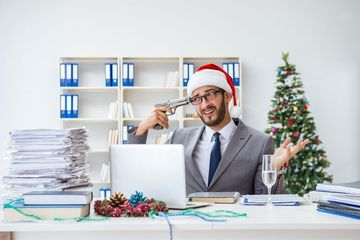 Young Businessman Celebrating Christmas Shoot