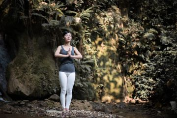 Meditation Under Waterfall Shoot
